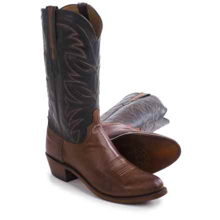 "Lucchese Round Toe Cowboy Boots - 13"", Leather (For Men) in Tan Burnished/Black - Closeouts"