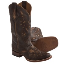 Lucchese Rustic Cowboy Boots - Laser-Cut Calfskin (For Men) in Chocolate - Closeouts