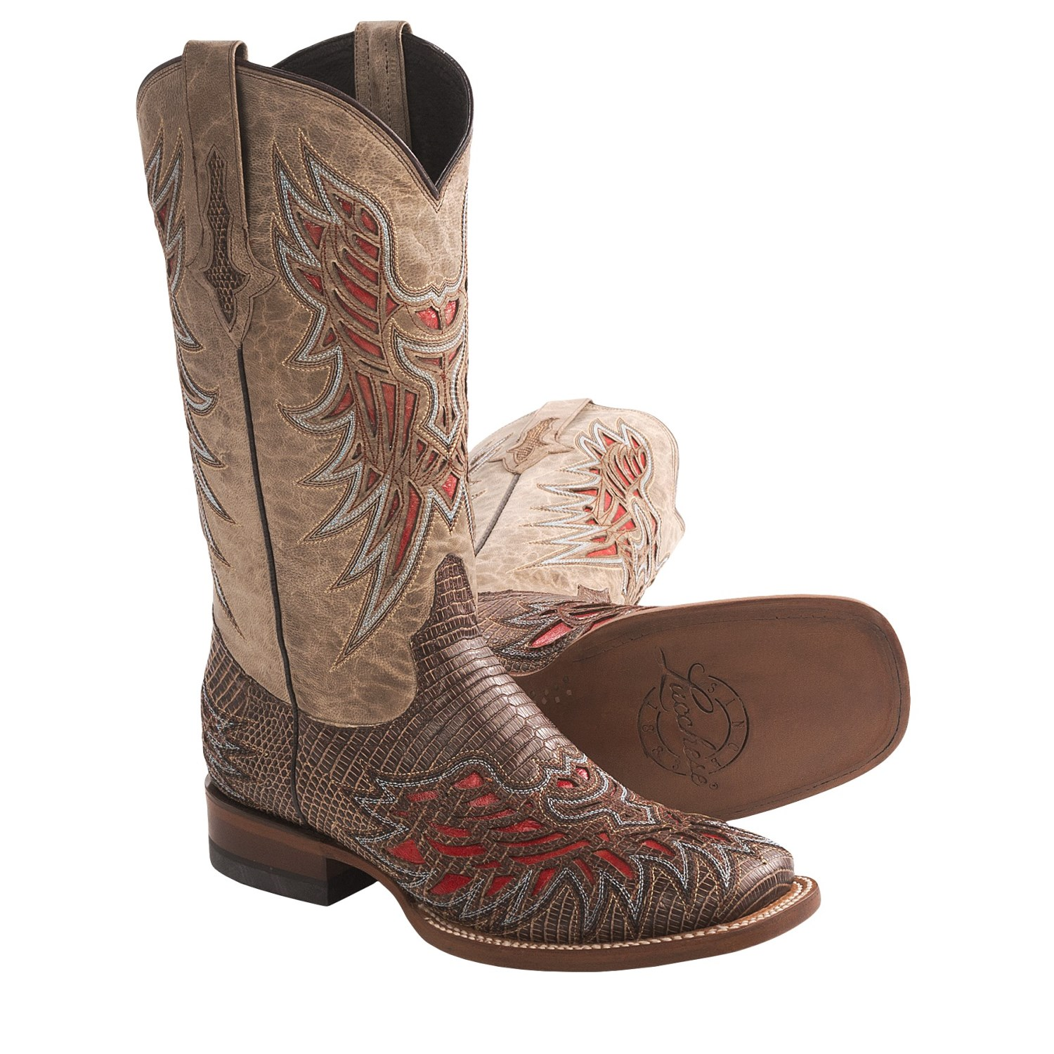 lucchese rustic lizard cowboy boots leather square toe