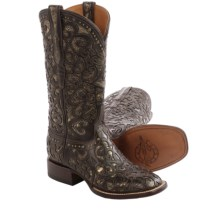 Lucchese Sierra Cowboy Boots - Leather, Square Toe  (For Women) in Espresso - Closeouts