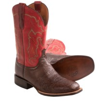 Lucchese Smooth Ostrich Cowboy Boots - W-Toe (For Men) in Cigar - Closeouts
