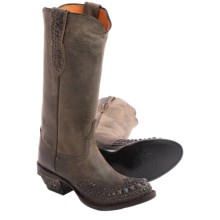 Lucchese Studded Cowboy Boots - Leather, Round Toe (For Women) in Anthracite Mad Dog Goat - Closeouts