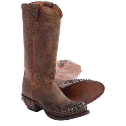 Lucchese Studded Cowboy Boots - Leather, Round Toe (For Women) in Peanut Brittle Mad Dog Goat - Closeouts