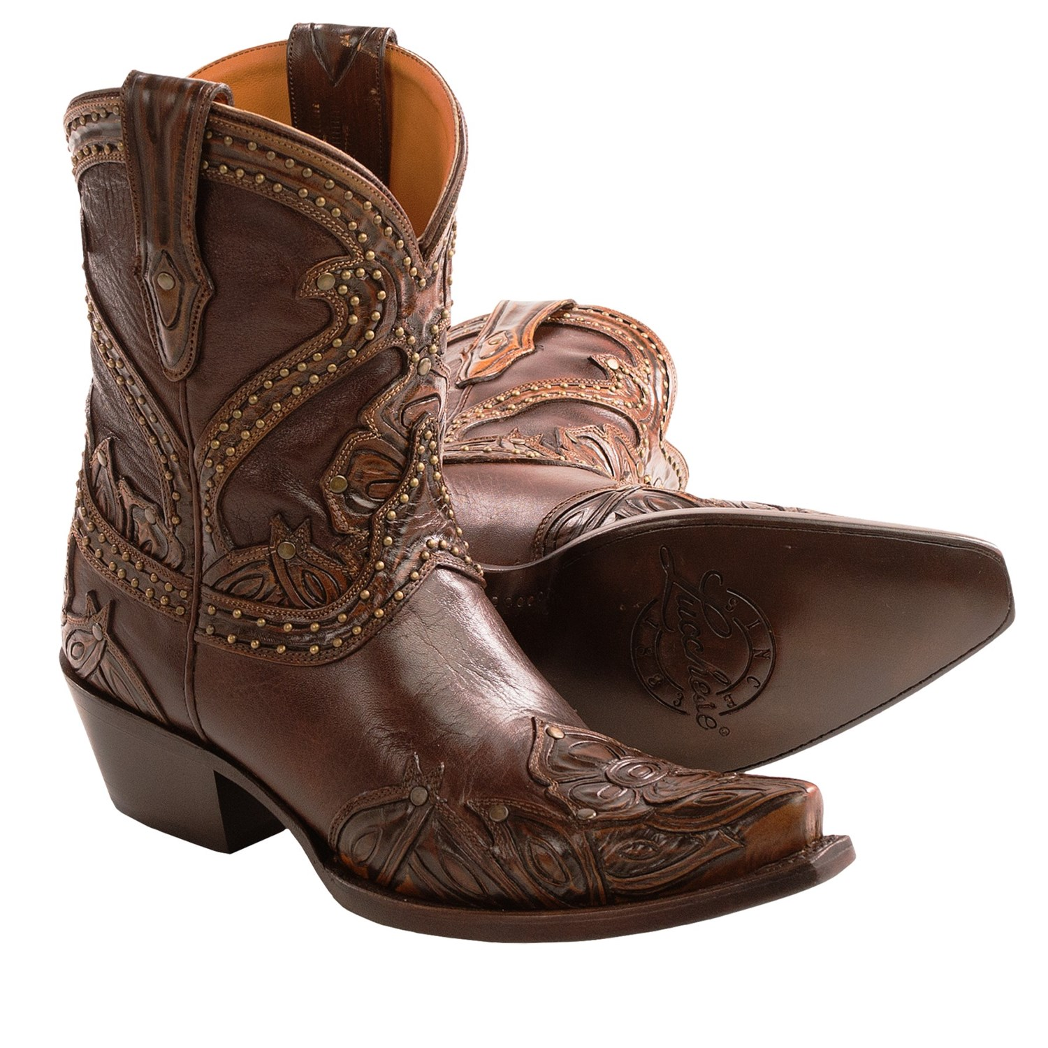 lucchese tooled petal cowboy boots leather ankle height