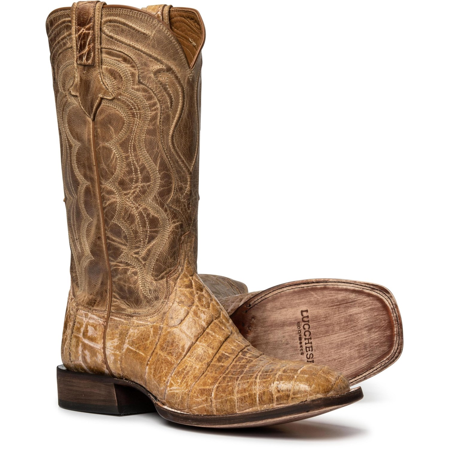 "b14cf4509a0 Lucchese Vince Alligator Cowboy Boots - 12"", Square Toe (For Men)"