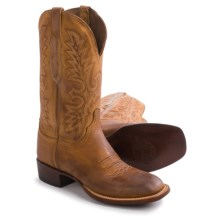 "Lucchese Wide Square Toe Cowboy Boots - 12"" (For Men) in Camel - Closeouts"