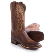"Lucchese Wide Square Toe Cowboy Boots - 12"" (For Men) in Tan Burnished - Closeouts"