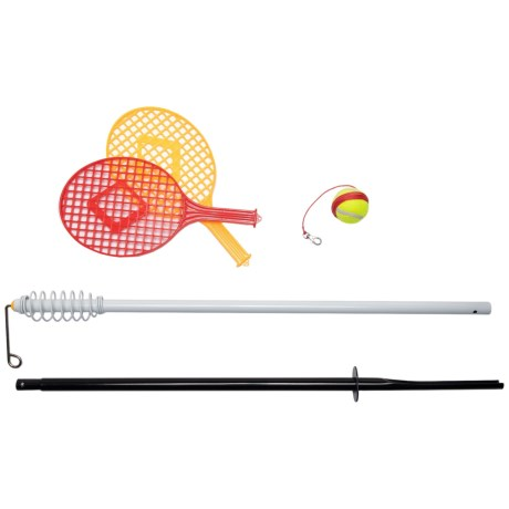 Luckies Swing Ball Game in Red/Orange Paddle And Black/White Pole