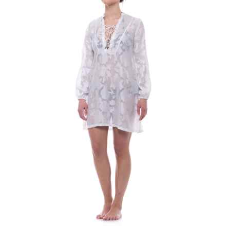 Lucky & Coco Burnt Cover-Up - Long Sleeve (For Women) in White - Closeouts