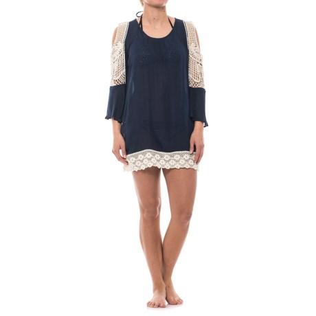 Lucky & Coco Cold Shoulder Crochet Cover-Up - Long Sleeve (For Women) in Navy