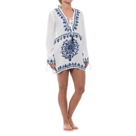 Lucky & Coco Embroidered Cover-Up - Long Sleeve (For Women) in White/Navy - Closeouts