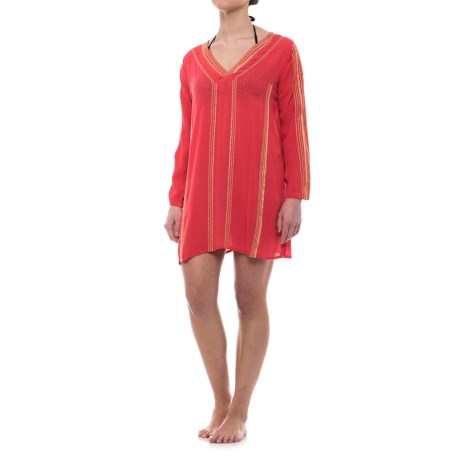 Lucky & Coco Patterned Tunic Cover-Up - Long Sleeve (For Women) in Coral