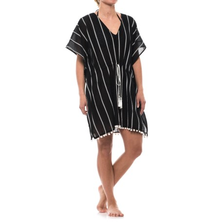 Lucky & Coco Tassel Tie Tunic Cover-Up - Short Sleeve (For Women) in Black
