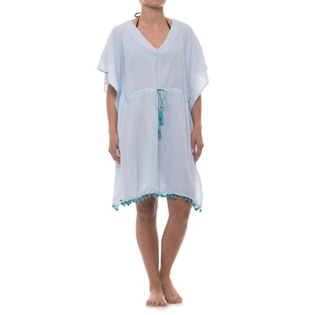 Lucky & Coco Tassel Tie Tunic Cover-Up - Short Sleeve (For Women) in Blue Pinstripe Navy