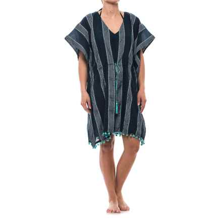 Lucky & Coco Tassel Tie Tunic Cover-Up - Short Sleeve (For Women) in Navy Turquoise Stripe - Closeouts