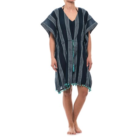 Lucky & Coco Tassel Tie Tunic Cover-Up - Short Sleeve (For Women) in Navy Turquoise Stripe