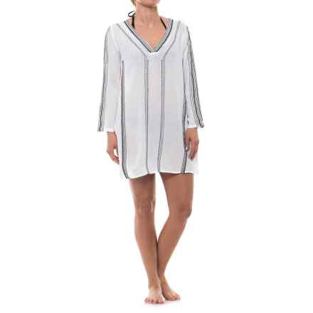 Lucky & Coco Tunic Cover-Up - Long Sleeve (For Women) in White/Black Embroidery - Closeouts