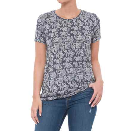 Lucky Brand Allover Print T-Shirt - Short Sleeve (For Women) in Blue Multi - Closeouts