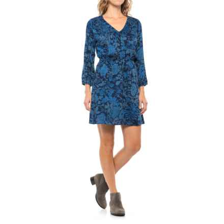 Lucky Brand Anaelisa Dress - 3/4 Sleeve (For Women) in Blue Multi - Closeouts