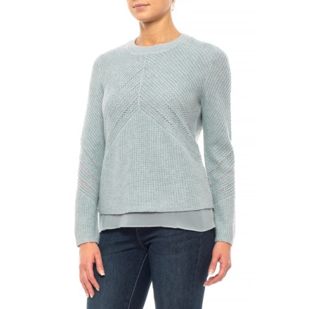 de9adf21ee Lucky Brand April Moon Mixed Media Pullover Sweater (For Women) in April  Moon -