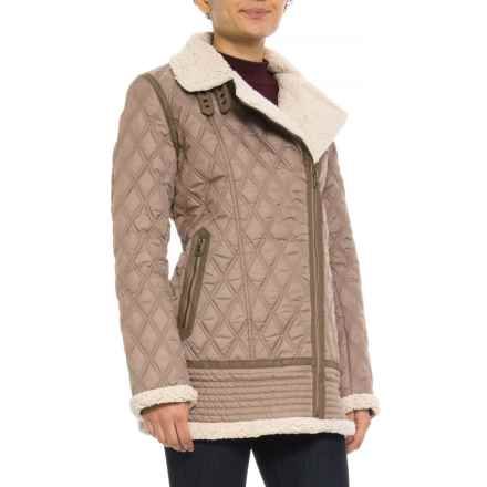 Lucky Brand Asymmetrical Zip Quilted Jacket (For Women) in Truffle - Closeouts