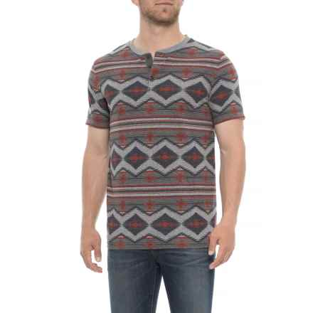 Lucky Brand Aztec Henley T-Shirt - Short Sleeve (For Men) in Heather Grey - Closeouts