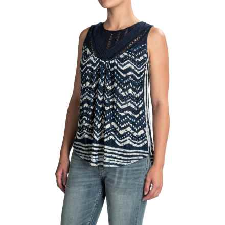 Lucky Brand Batik Shirt - Sleeveless (For Women) in Blue Multi - Closeouts