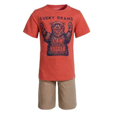 Lucky Brand Bear T-Shirt and Shorts Set - Short Sleeve (For Boys) in Orange Bear/Khaki - Closeouts