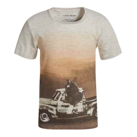 Lucky Brand Bear Truck T-Shirt - Short Sleeve (For Little Boys) in Oatmeal Heather - Closeouts