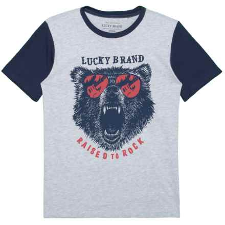 Lucky Brand Bear with Sunglasses Graphic T-Shirt - Short Sleeve (For Big Boys) in Grey Heather - Closeouts