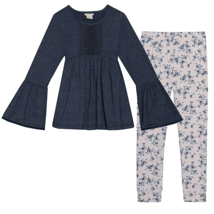 1e6c817bf2212 Lucky Brand Bell Sleeve Embroidered Shirt and Floral Leggings Set - Long  Sleeve (For Toddler