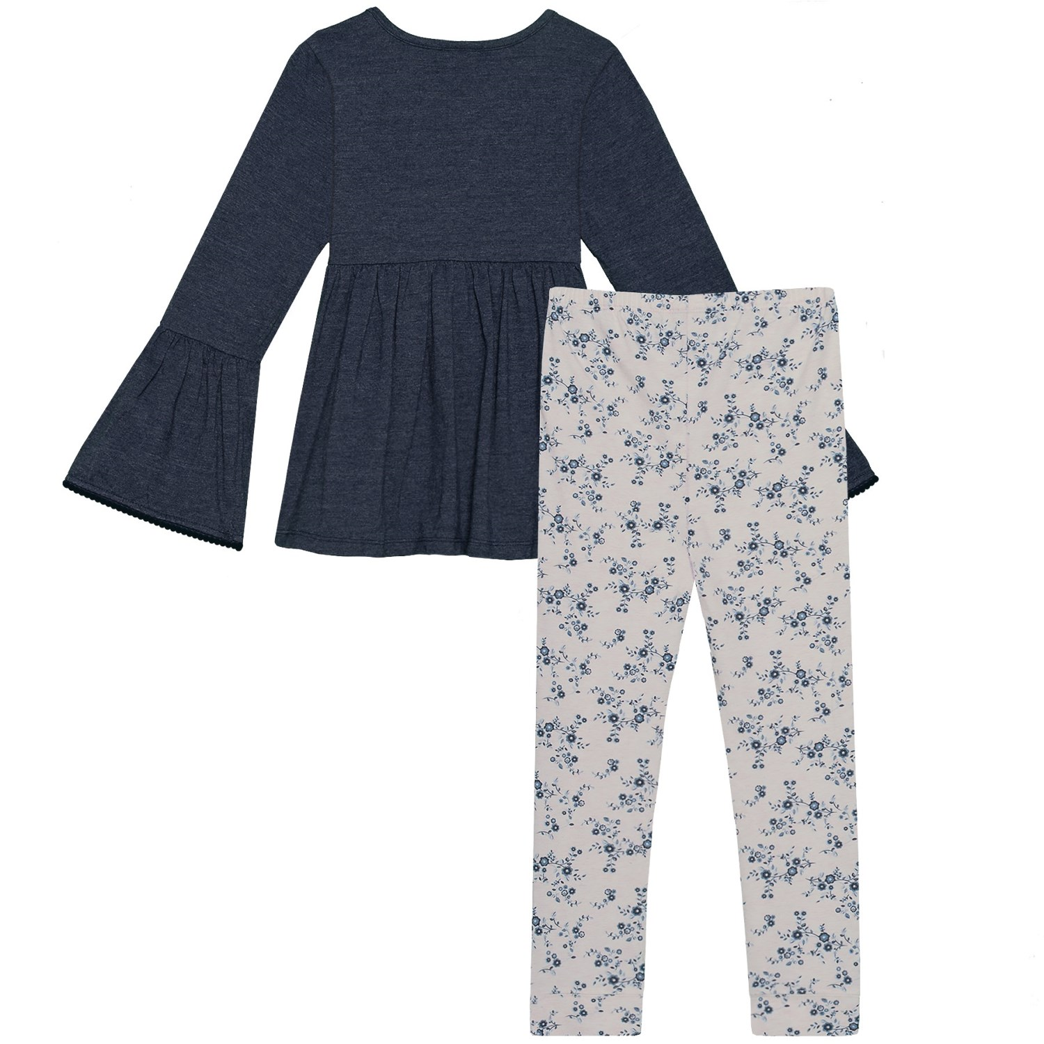 4d980dd968e Lucky Brand Bell Sleeve Embroidered Shirt and Floral Leggings Set - Long  Sleeve (For Toddler Girls)