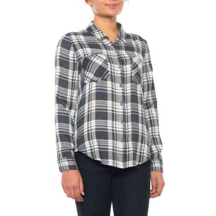 Lucky Brand Black Button Side Plaid Shirt - Long Sleeve (For Women) in Black - Closeouts