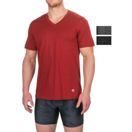 Lucky Brand Black Label Core V-Neck Undershirt - 3-Pack, Short Sleeve (For Men) in Jet Black/Sun Dried Tomato/Magnet
