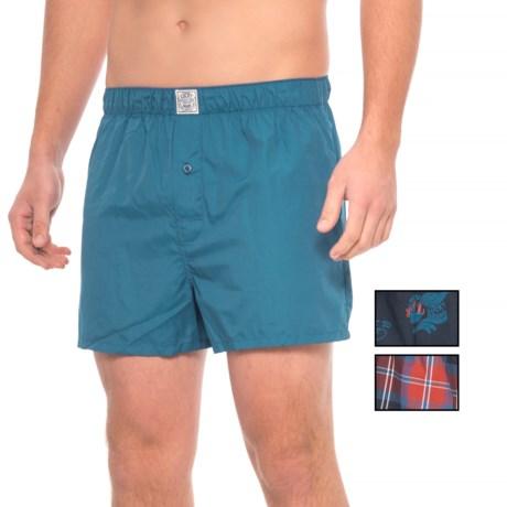 Lucky Brand Black Label Woven Boxers - 3-Pack (For Men) in Red Ochre Plaid/Dark Blue/Dark Sapphire Print
