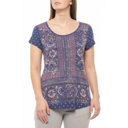 3c3764a0eb7b Lucky Brand Blue Multi Painted Border T-Shirt - Short Sleeve (For Women)