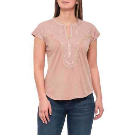 Lucky Brand Blush Washed Applique Henley Shirt - Short Sleeve (For Women) in Blush - Closeouts