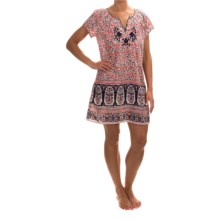 Lucky Brand Bohemian Nightshirt - Short Sleeve (For Women) in Coral Bohemian Garden - Overstock
