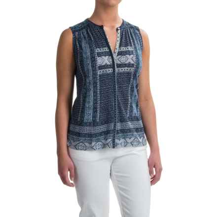 Lucky Brand Border Print Shirt - Sleeveless (For Women) in Blue Multi - Closeouts