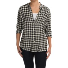 Lucky Brand Boyfriend Shirt - Brushed Modal, Long Sleeve (For Women) in Black Multi - Closeouts