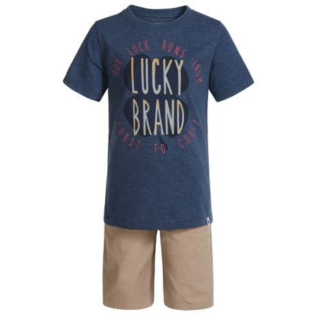 Lucky Brand Branded T-Shirt and Shorts Set - Short Sleeve (For Boys) in Blue Heather/Khaki