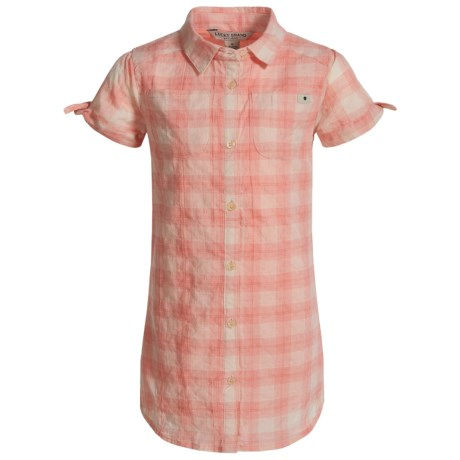Lucky Brand Bree Dobby Plaid Dress - Short Sleeve (For Little Girls) in Camelia Pink