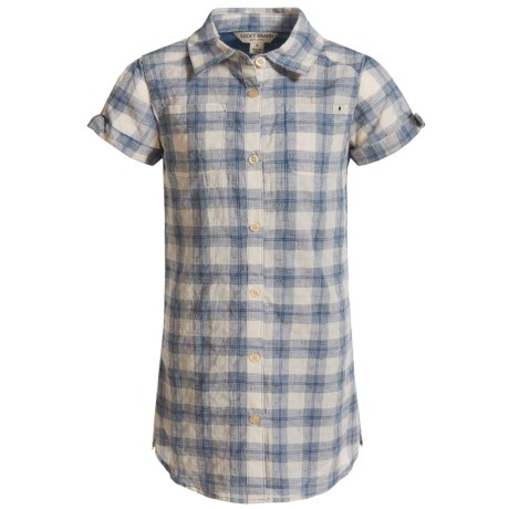 Lucky Brand Bree Dobby Plaid Dress - Short Sleeve (For Little Girls) in Dark Denim