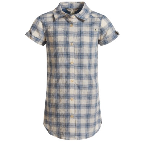 Lucky Brand Bree Dobby Plaid Dress - Short Sleeve (For Toddler Girls) in Dark Denim