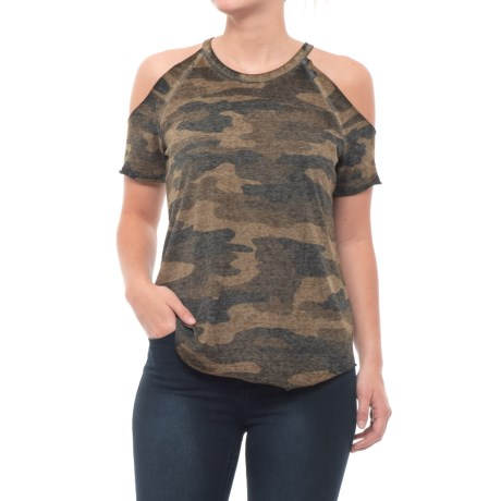 Lucky Brand Camo Cold-Shoulder Shirt - Short Sleeve (For Women) in Green Multi