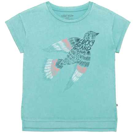 Lucky Brand Celestia T-Shirt - Short Sleeve (For Big Girls) in Ice Age - Closeouts