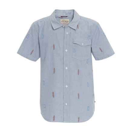 Lucky Brand Chambray Woven Shirt - Short Sleeve (For Big Boys) in Light Blue - Closeouts
