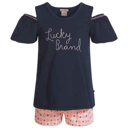Lucky Brand Cold-Shoulder Shirt and Shorts Set - Short Sleeve (For Girls) in Blue/Soft Pink - Closeouts