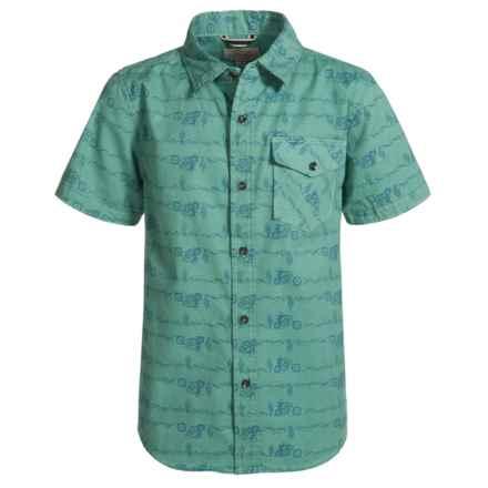 Lucky Brand Conversational Print Shirt - Short Sleeve (For Big Boys) in Feldspar - Closeouts