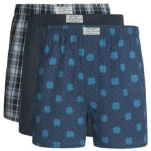 Lucky Brand Core Boxers - 3-Pack (For Men) in Moonless Night Plaid/Moonless Night/Dark Denim - Closeouts